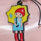 "Cute Girl Yellow Umbrella Plastic Figure Strap Charm Mascot 1.25""H #3"