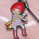"Cute Girl Plastic Figure Strap Charm Mascot 1.25""H #4"