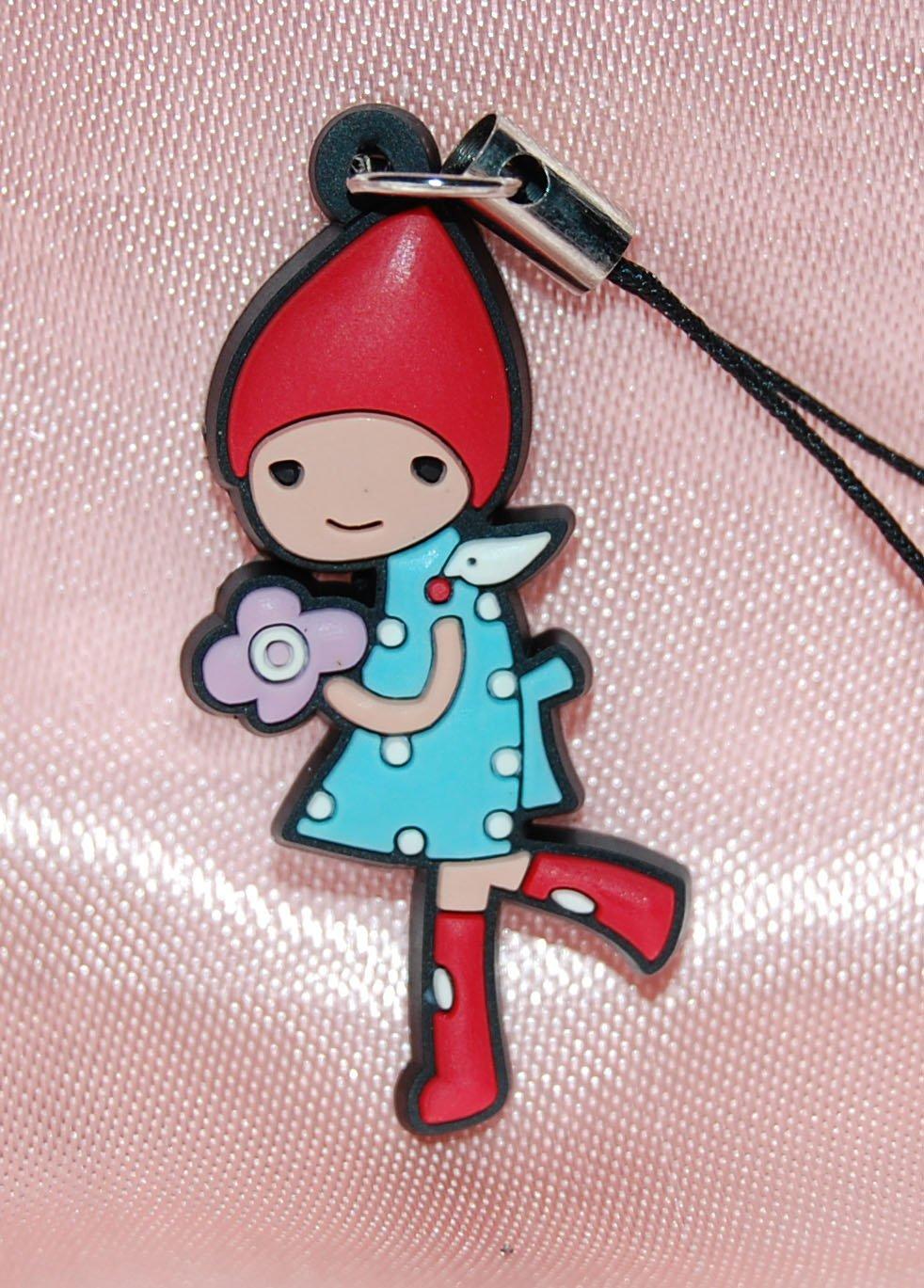 "Cute Girl Purple Flower Plastic Figure Strap Charm Mascot 1.25""H #5"