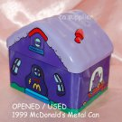 "USED 1999 McDonald's Grimace PURPLE Metal Tin Can Container 4.5"" x 3.5"" x 4""H"