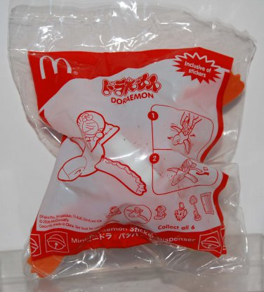 2009 McDonald's Happy Meal Toy Mini Doraemon on Bird Sticker Dispenser Figure
