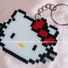 Perler Beads Hand Craft Art Hello Kitty Head Figure Key Ring Chain Charm