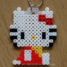 Perler Beads Hand Craft Art Hello Kitty Figure Key Chain Charm Strap Mascot Shinning Beads