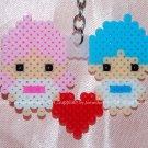 Perler Beads Hand Craft Art Little Twin Star Figure Key Ring Chain Charm