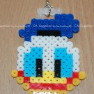 Perler Beads Hand Craft Art Donald Duck Head Figure Key Ring Chain Charm