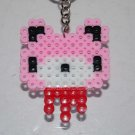 Perler Beads Hand Craft Art Groomy Bear Head Figure Key Ring Chain Charm Mascot