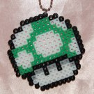 Perler Beads Hand Craft Art Mario Bros Green Mushroom Head Figure Key Chain Ring Plate Charm Mascot