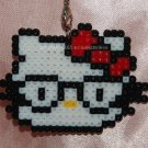 Perler Beads Hand Craft Art Hello Kitty Wearing Glasses Head Figure Key Ring Chain Charm