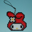 Perler Beads Hand Craft Art My Melody Head Figure Key Ring Chain Charm Mascot