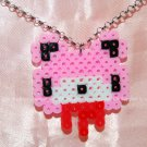 Perler Beads Hand Craft Art Groomy Bear Head Necklace w/ Lobster Clip