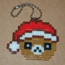 "Perler Beads Hand Craft Art Christmas Hat Bear Head Key Chain 2.25"" x 1.75"""