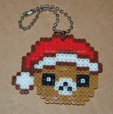 "Perler Beads Hand Craft Art Christmas Hat Bear Head Key Chain 2.25"" x 1.75"""
