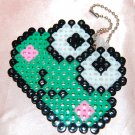 Perler Beads Hand Craft Art - Keroppi Head Key Chain Charm Strap Mascot