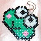 Perler Beads Hand Craft Art - Keroppi Head Key Chain Charm Strap Mascot