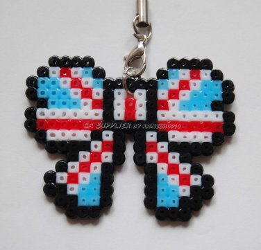 Perler Beads Hand Craft Art - Ribbon Butterfly Shape Strap Charm Mascot