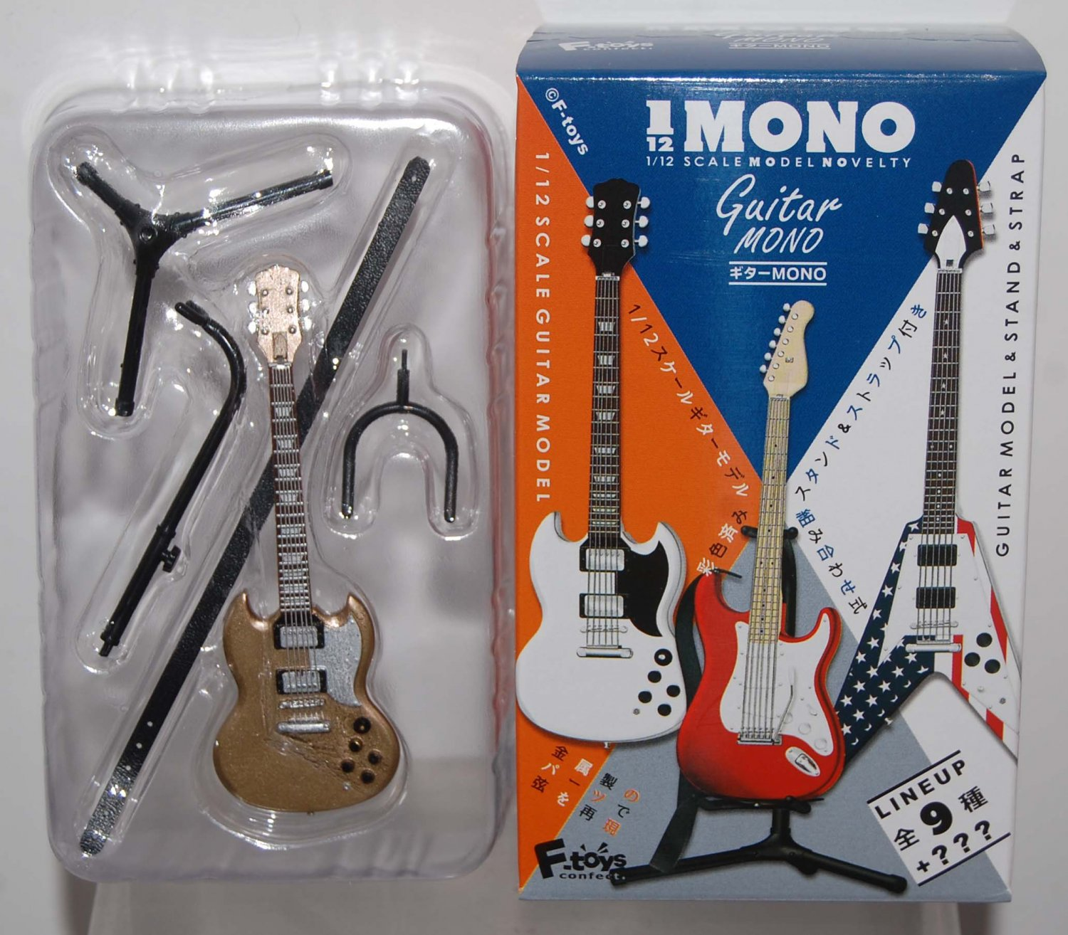 F Toys 1/12 Guitar Mono Stratype #2S GOLD Display Model w/ Stand Strap