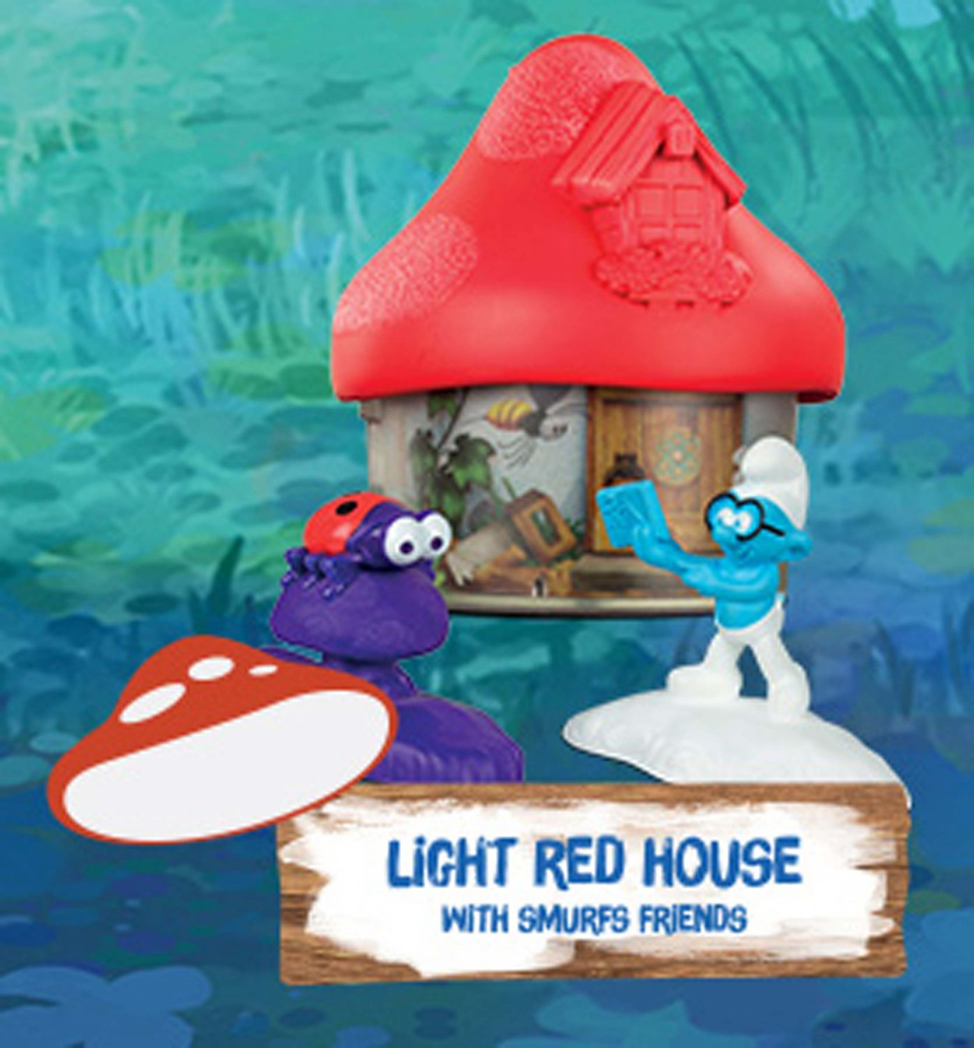 2017 McDonald's Smurfs The Lost Village - LIGHT RED House with Smurfs Friends