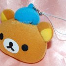 San X Rilakumma Relax Bear Head Wearing Blue Hat Plush Figure Charm w/ Lobster Clip 3""