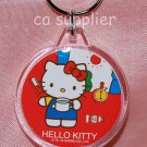 2005 Sanrio Round Shape Hello Kitty Key Ring - Brushing Teeth