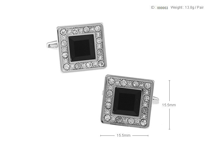 Free shipping Men's Jewelry wedding cuff links Elegant Black Crystal cufflinks