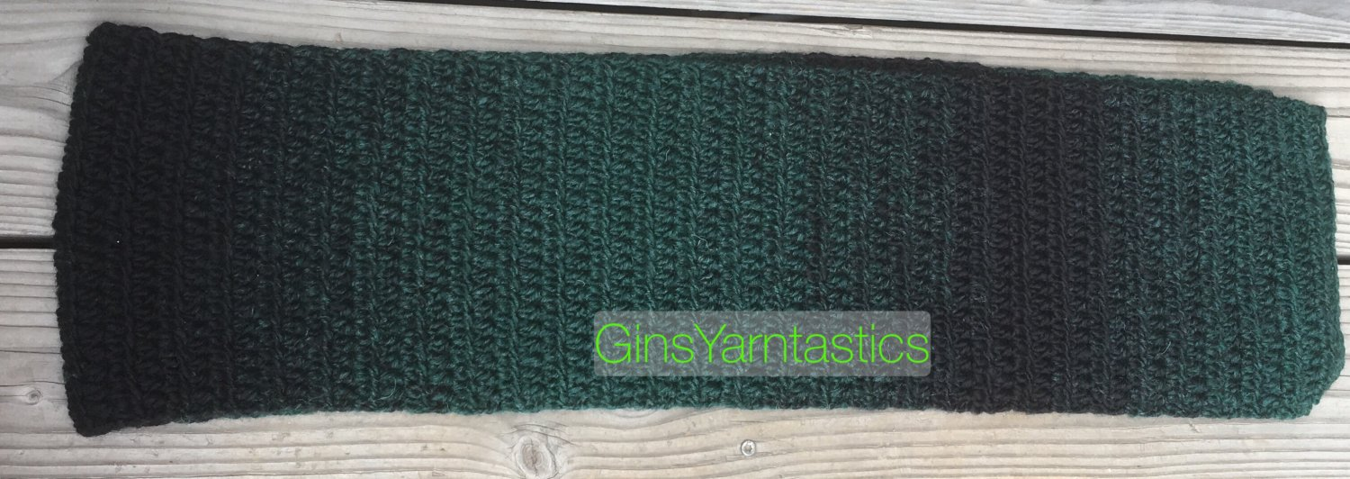 Crocheted Green and Black Ombré Scarf