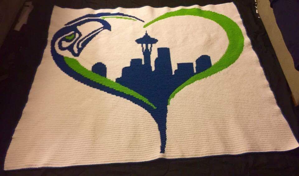 Seattle Seahawks Themed Blanket  (Queen) - Crocheted