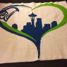 Crocheted Seattle Seahawks Themed Blanket  (Queen)