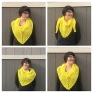 Bright Yellow Triangle Shawl Scarf - Crocheted