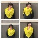 Bright Yellow Triangle Shawl Scarf - Crocheted