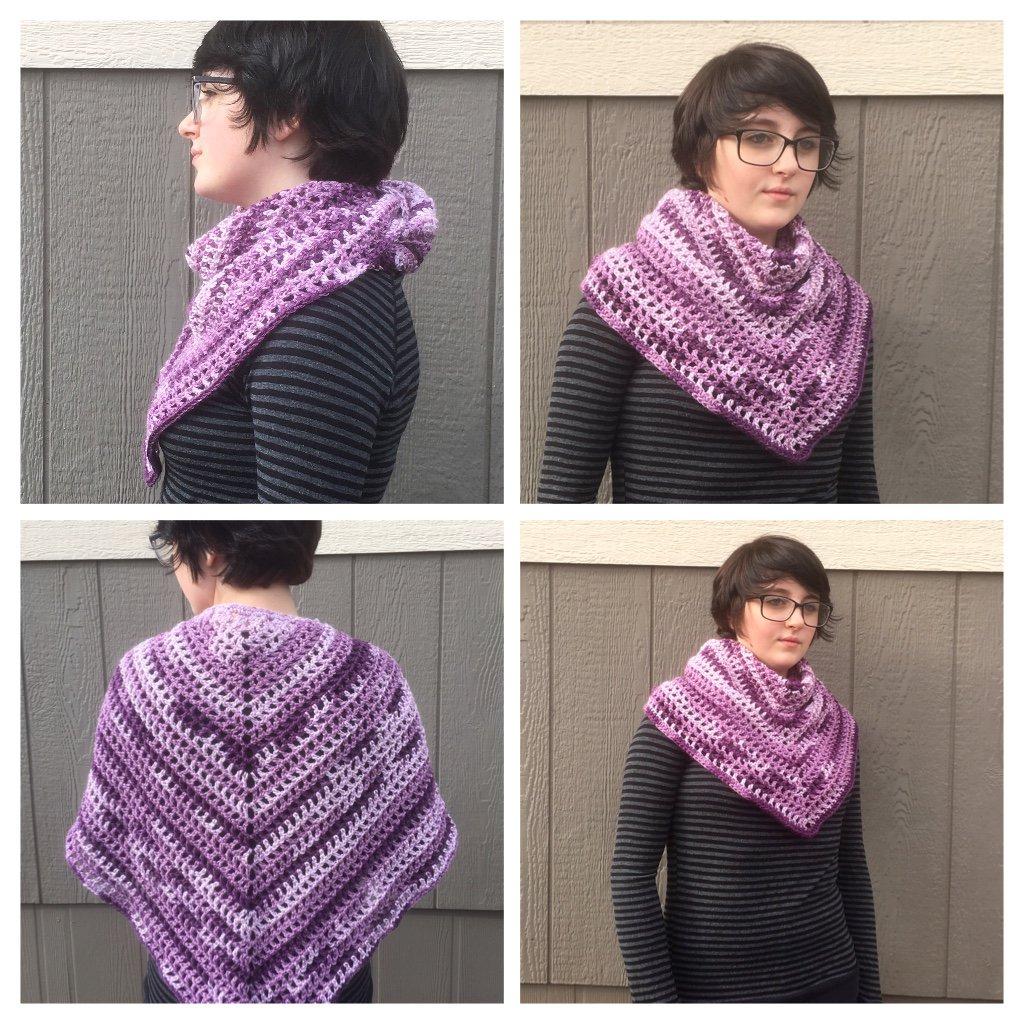 Shades of Purple Crocheted Shawl Scarf