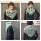 Womens Crocheted Green Triangle Scarf