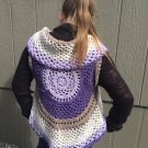 Girls Purple and Brown Boho Vest - Crocheted - Handmade