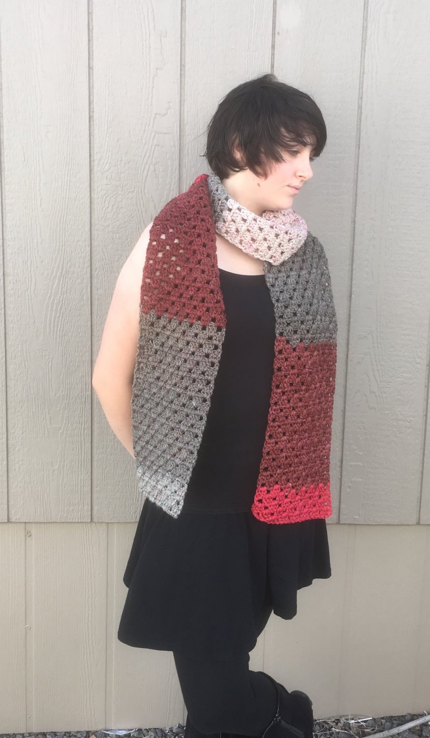 Autumn Scarf - Red &Gray Crochet Scarf