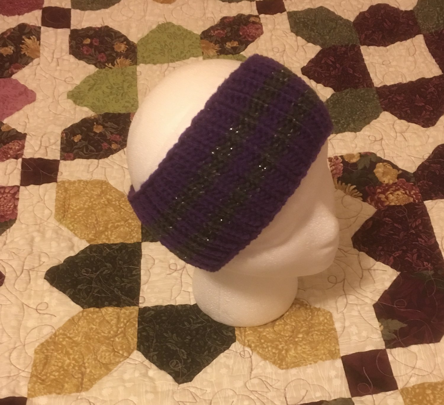 Purple and Metallic Gray Knit Headband Ear Warmer