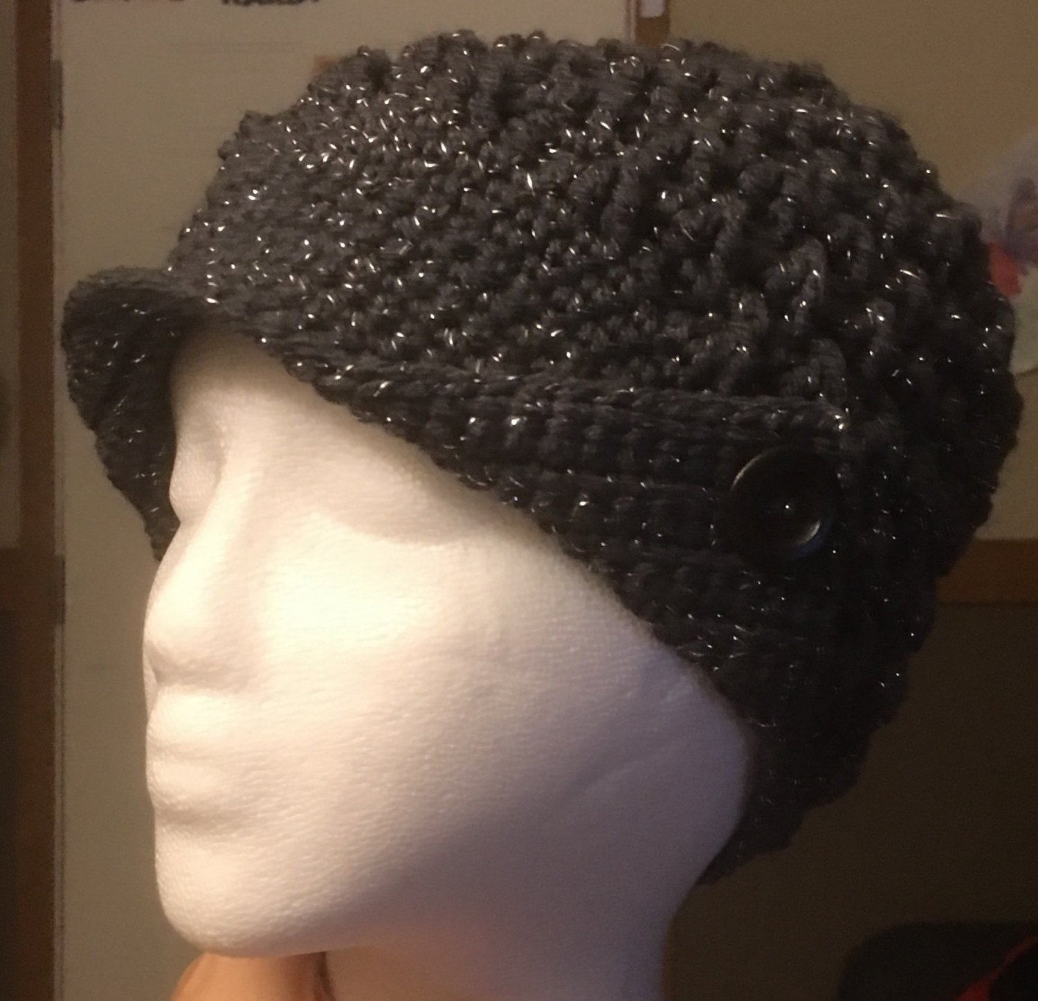 Metallic Gray Peaked Hat