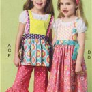 McCalls Sewing Pattern 6916 Girls Childs Top Dress Pinafores Pants Size 6-8 New