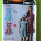 # Simplicity Sewing Pattern 1412 Children Girls Dress Hat Size 3-14 New