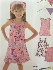 New Look Sewing Pattern 6478 Childs Girls Dress Sundress Head Scarf Size 3-8 New