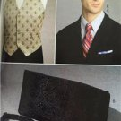 Vogue Sewing Pattern 9073 Mens Vest Cummerbund Pocket Square Ties Size O/S New