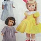 """Butterick Sewing Pattern 6302 Retro '55 18"""" Doll Clothes Size O/S New"""