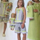 "Butterick Sewing Pattern 6125 Girls Childs 18"" Doll Top Gown Shorts Size 2-5 New"