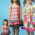 "Kwik Sew Sewing Patterns 4039 Childs Girls Dresses 18"" Doll Dress Size XXS-L New"