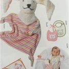 Burda Sewing Pattern 9635 Infant Baby Accessories Bibs Soft Toy Blanket New