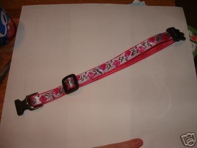 Pink Flowers-Dog Collar M-L Size