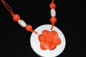 Handmade Polymer Clay Necklace with matching Earrings - set 4