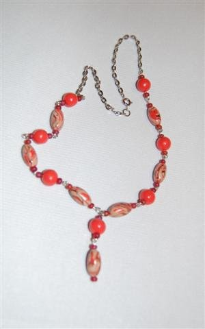 Handmade Polymer Clay Necklace with matching Earrings - set 26