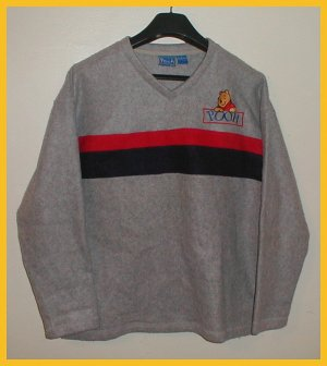 "Women's  Fleece  Pullover size L , Gray  with red/blue ""Winnie the Pooh"""