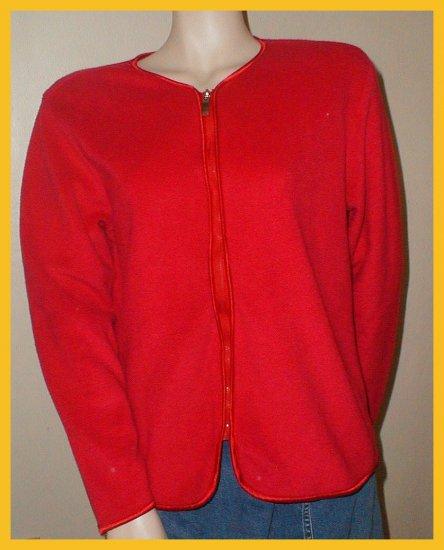 Women's Red Fleece Sweater, zips up, Size M by Regatta