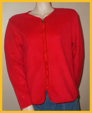 Women's Red Fleece Sweater, zips up, Size M by Regatta