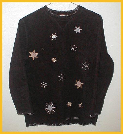 Women's Fleece Snowflake Pullover , size PM (petite)